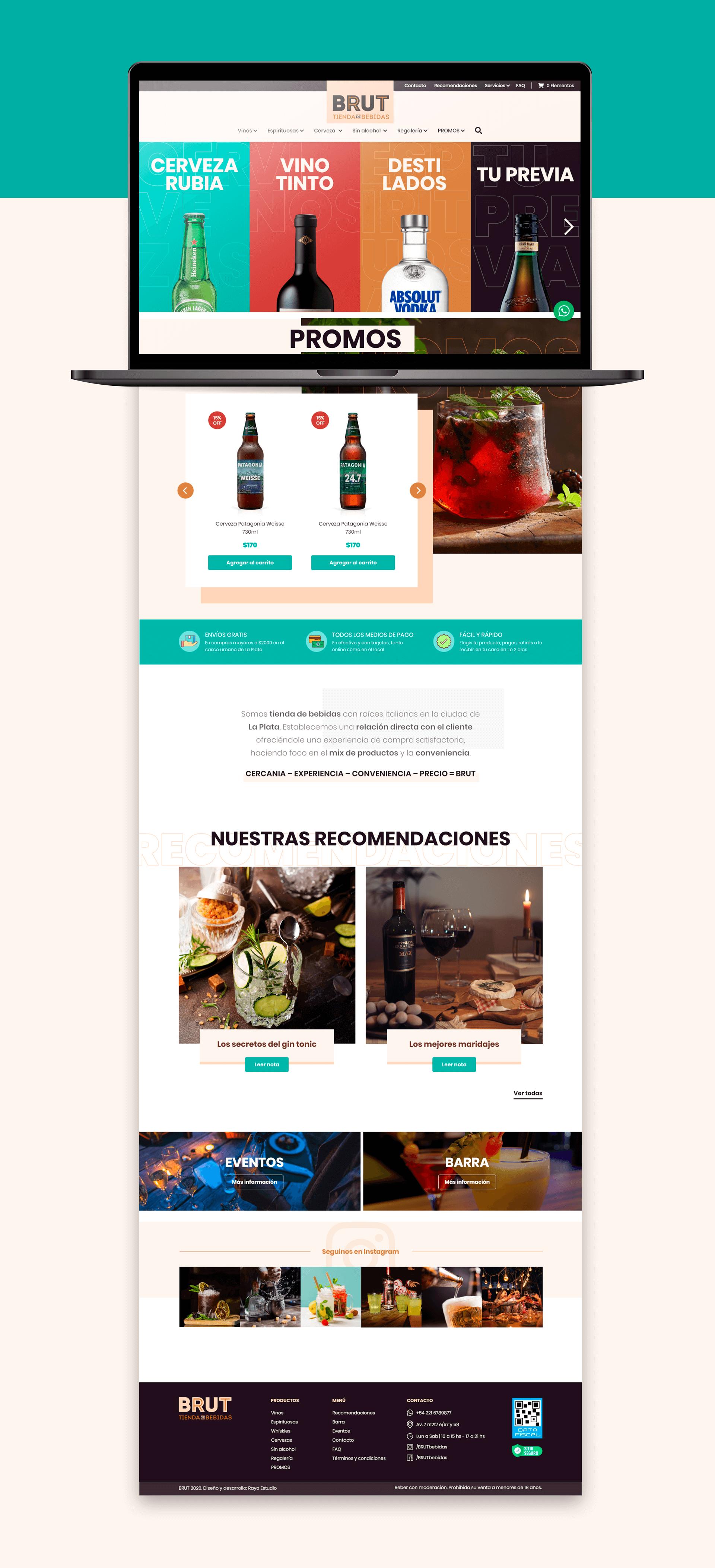 Web BRUT Tienda de bebidas